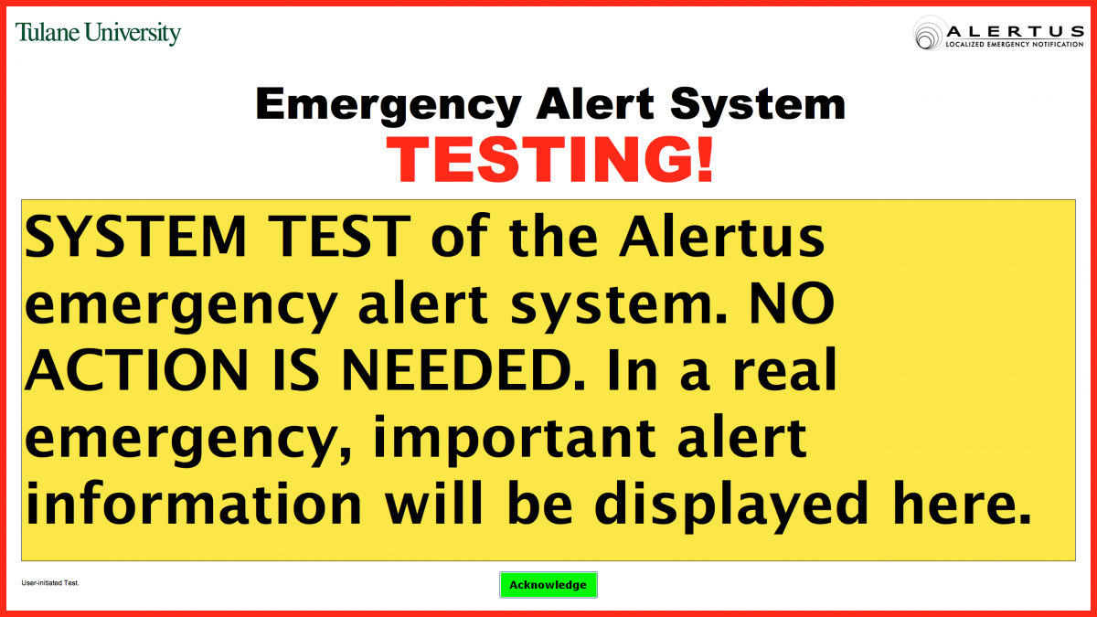 Example alertus notification box